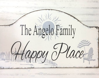 Happy Place beach house sign, lake, mountain, or ski house sign, rustic family vacation cottage, shore house decor, realtor housewarming