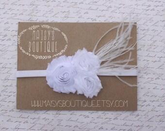 1920s Feathered White Clustered Flowers/ Wedding/ Baptism/Baby Headband/ Newborn Headband/ Flower Girl Headband/ Wedding Hair