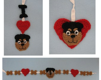 Crochet Pattern - Rottweiler Christmas Ornaments and Garland Crochet Pattern - Dog Ornament Pattern - Christmas Pattern - Digital Download