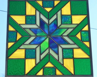 Stained Glass Quilt Block Panel - Handcrafted in Tennessee