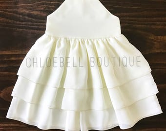 Toddler formal dress - Ivory toddler dress - chiffon dress - Off white flower girl dress - 3-Tier Chiffon Flower Girl - Modern toddler dress