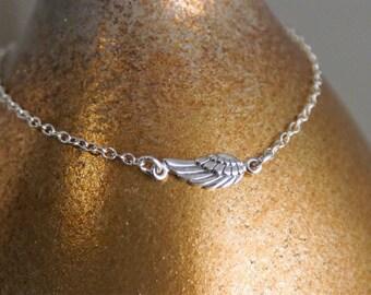 Angel Wing Sterling Silver Bracelet / Dainty Bracelet / Layered Bracelet / Sterling Silver Angel Wing Link