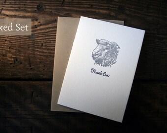 Letterpress Printed Thank Ewe Cards