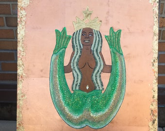 Our Lady Of The Coffee (Oprah As Starbucks Siren)  Unique Original Collage Artwork Edition 4 of 4
