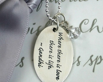 Sterling Quote tag necklace - Where there is Love - 18 inch necklace included