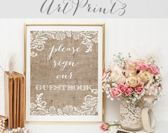 Please Sign Our Guestbook Sign Printable, Burlap&Lace Wedding Printable Sign, Rustic Wedding Signage, Wedding Table Decor, Party Sign