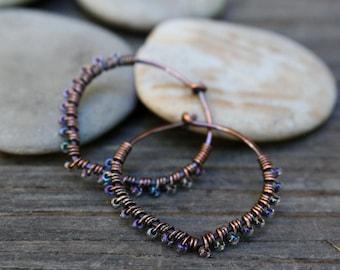 Copper Hoops,  Seed Bead Hoops, Petal Hoops, One Inch Hoops, Oxidized Copper, Wire Wrapped Earrings,Lightweight Earrings, Glass hoops