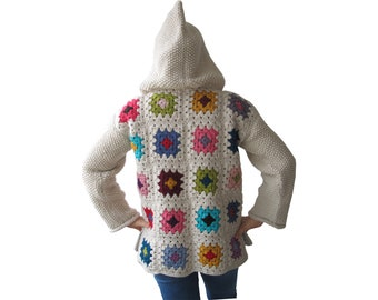 Afghan Jacket, Patchwork, Crochet Jacket, Hand Knitted Afghan Jacket, Hand Knitted Coat, Crochet Coat, Granny Square, Boho, Knitwear