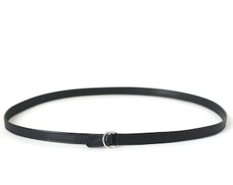 Slim Belt Black Leather, minimalistic belt