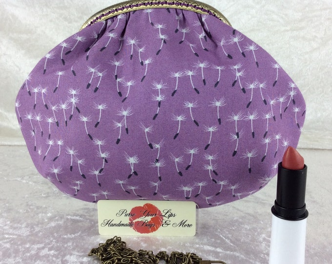 Handmade handbag purse clutch kiss clasp Alice frame bag Dandilion Seeds