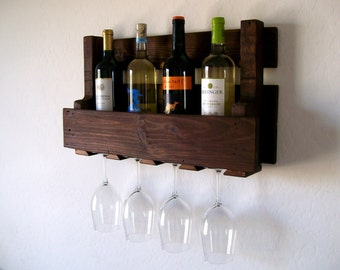 Wine Rack Wine Glasses Wine Bottles Pallet Wood Wine Rack Dark Walnut Brown or Natural (no color) Eco Friendly