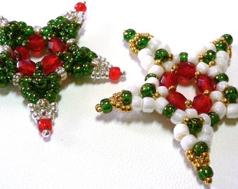 Starry stars beaded Xmas stars tutorial: Instant Downloadable Pattern PDF File