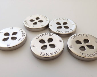 Chanel CC Clover Shamrock Silver Metal Flat Button 22mm  / Price is for one button