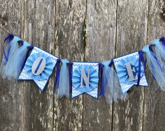 First Birthday Banner, One, Boy, Tulle, Silver, Blue