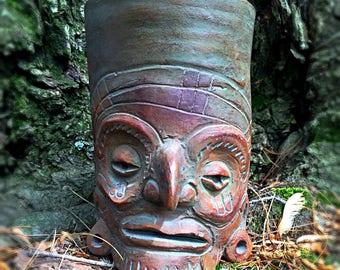 Clay Pot Effigy Vessel Pottery Head Face Vase Mexican Art ALVA Studio