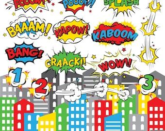 Comic Book Digital Clipart, Comic Text Clipart, Superhero Text, Superheroes Pop Art Tex