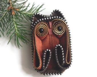 Owl Zipper Art Brooch Pin Ornament Handmade Wearable Collectible Art One Of A Kind Seen At Martha Stewart Wedding Party by handcraftusa Etsy