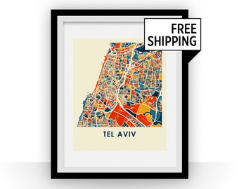 Tel Aviv Map Print - Full Color Map Poster