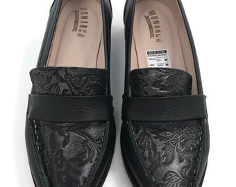 NEW Rosa Loafers Leather Shoes- Loafers shoes -Women Shoes -Flat Shoes -Loafers for women Black Leather  -Slip On Shoes-Handmade