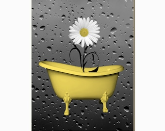 Yellow Bathroom Decor, Daisy Flower In Bathtub, Raindrops, Powder Room Yellow Wall Picture