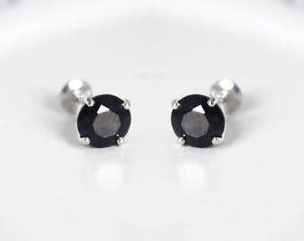 925 Sterling Silver Black Onix Baby Girls Children Screwback Earrings