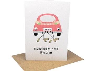 Wedding Card Congratulations Card | Bridal Car Just Married | WED047 | Wedding Day Card | Wedding Card Wishes | Wedding Cards Greeting Cards