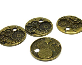 5  STEAMPUNK - Clock - Antique  Bronze Charm - Pendants