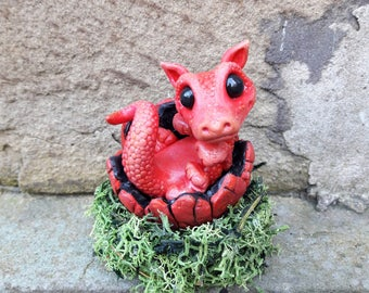 OOAK cute baby dragon pup figurines, cute red dragon ornament, dragon egg and nest, dragon hatchling