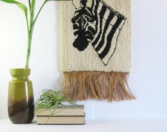 Vintage Zebra Wall Decor - Black & White Hooked Rug Wall Hanging - Neutral Home Decor - Vintage Wool Rug Burlap Fringe - Safari Animal Decor