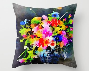 Bright Watercolor Floral Arrangement Painting Design Fabric Pillow Cover. Bold, Neon, Abstract Flowers on black background. Bright Colors