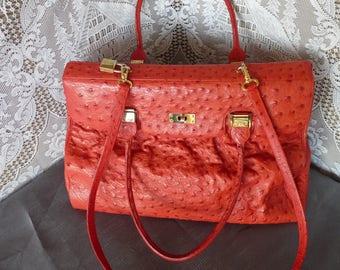 1990s - Geranium Red  - designer Hélène Arpels -  Large Ostrich Satchel / Hand Bag - Two length Handles.. Made in France