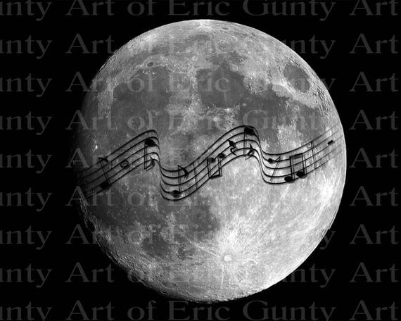 Music Band Notes Old Moon Birthday - Edible Cake and Cupcake Topper For Birthday's and Parties! - D22919