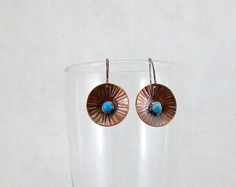 Round Copper and Blue Stone Earrings
