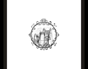 Fairytale Castle in a Pretty Round Frame Sweet Printable Art