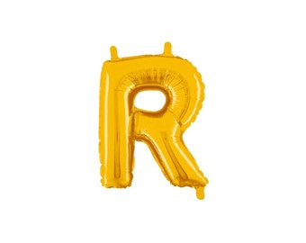 Letter R Gold Foil (Mylar) Balloons - 14 Inch Air Fill Only - Hanging Decorations Party Supplies