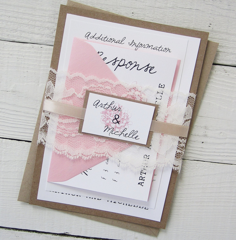 Rustic Peony Wedding Invitation Pink Vintage Lace Nature