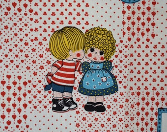 Novelty fabric 70s vintage fabric sewing aprons for kids toddler dolls hearts flowers love is friendship gifts for BFF Love Is novelty print