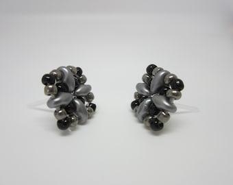 Seed Bead Stud earrings, Stud earrings, Black & Gray Square Studs