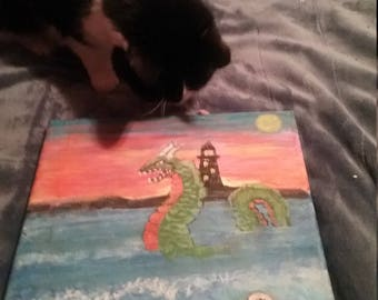 Painting of a sea serpent, loch Ness monster, lighthouse, ocean,beach,creepy,sunset or sunrise,cryptids,scenery,creepy,deviant,coffee house