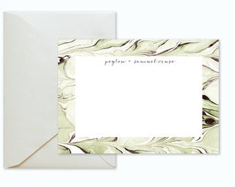 Sage Green Aubergine Marble Custom Stationery / Flat Notes -Set (10) / A7 Size