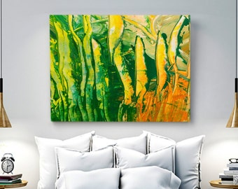 abstract art giclee print original painting green yellow orange paper art living room wall art modern art acrylic original wall art paper