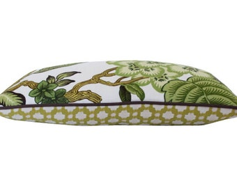 Schuamcher Hothouse Flower in Verdance and Chartruese Bewtxit Pillow Cover with Brown Piping