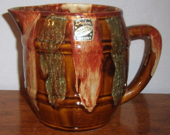 Vintage Dryden Pottery Water Pitcher Ozark Frontier Multi Color Earth Tones Brown Drip Glaze Original Paper Label American Art Pottery