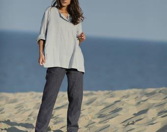 Linen shirt. Linen tank top. Long linen shirt. Long sleeve kaftan. Blue linen shirt. Medieval shirt. Loose linen clothes.