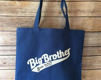 Big brother tote bag personalized with year