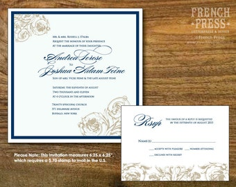 Square Sophisticated Flourish Wedding Invitation Suite, Personalized Instant Download, Printable DIY Wedding Invitation Set