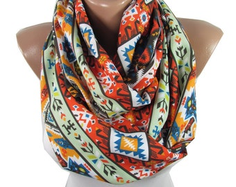 Clothing Gift Tribal Scarf Infinity Scarf Aztec Scarf Southwestern Winter Scarf Accessories Holiday Christmas Gift For Mom For Women For Mom