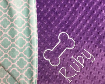 Pet Blanket Puppy Blanket Dog Blanket Personalized Pet Bedding Pet Lovers Gift New Pet Owner Gift Lilac Mint Trellis Pet Loss Pet Moving