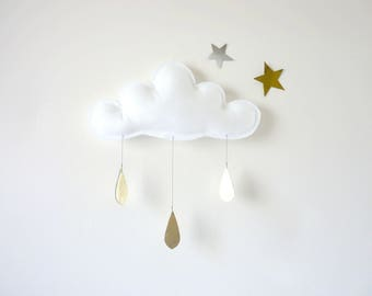 White Cloud Mobile, White cloud decor,  Nursery-Children Decor- Neutral nursery by The Butter Flying- nursery decor- White nursery