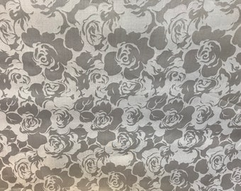 Gray Floral Pattern On 100% Silk Organza